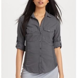James Perse Poplin Grey Button Down Ribbed Shirt